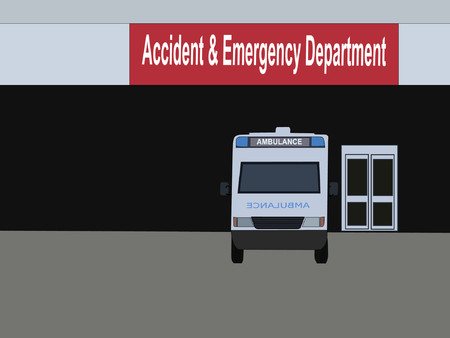 Ambulance parked outside Accident and emergency Vector