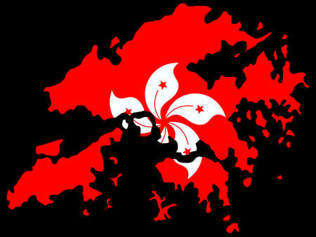 realm: map of Hong Kong and their flag illustration Illustration