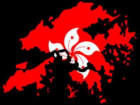 hong kong people: map of Hong Kong and their flag illustration Illustration