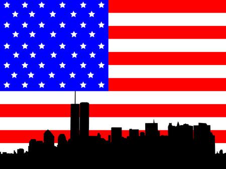world trade: El ex Bajo Manhattan Skyline y bandera americana