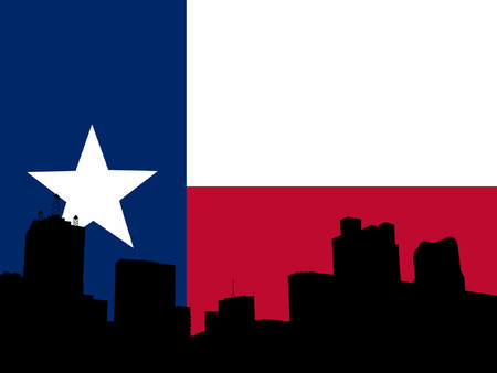 texan: Dallas skyline and Texan flag illustration