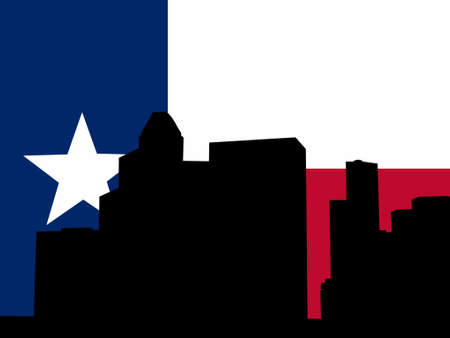 texan: Houston skyline and Texan flag illustration Illustration