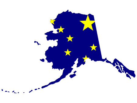 alaskan: Map and flag of the State of Alaska Illustration