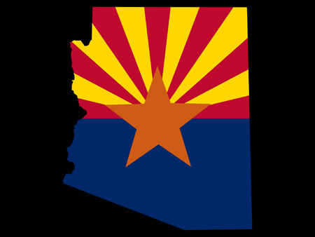 state of arizona: Map and flag of the State of Arizona Illustration