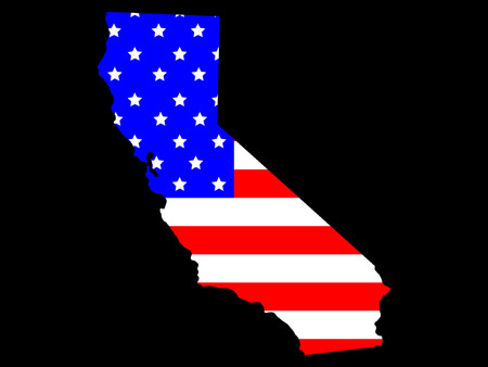 Map of the State of California and American flag Stock Vector - 825428