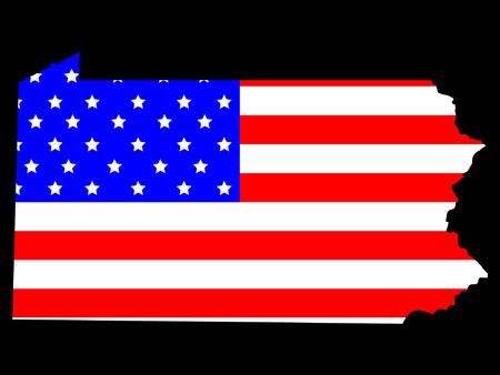 ペンシルベニア州の州とアメリカの国旗の地図