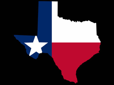 Map and flag of the State of Texas