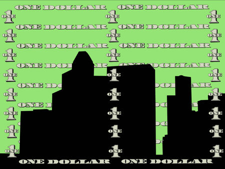 one dollar bill: Houston skyline against one dollar bill