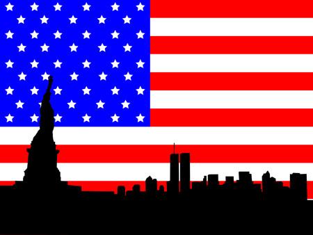 world trade center: Statue of Liberty and former Lower Manhattan skyline