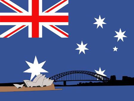 Sydney Hafen Brücke gegen Rainbow Flagge  Vektorgrafik