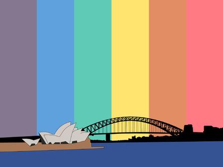 Sydney harbour bridge against Rainbow flag Vector