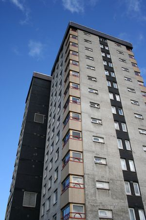 ��low income housing�: looking up at  low income residential building