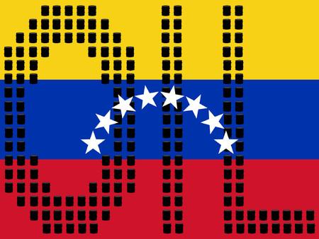 venezuelan: Barriles de petr�leo venezolano y bandera ilustraci�n