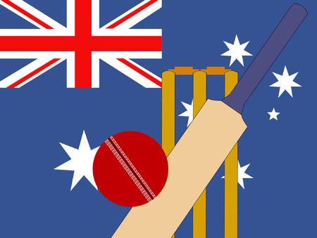 bails: cricket bat and stumps with australian Flag  Illustration