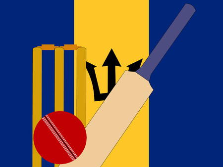 bails: cricket bat and stumps with Barbadian Flag