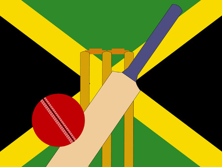 bails: cricket bat and stumps with Jamaica Flag