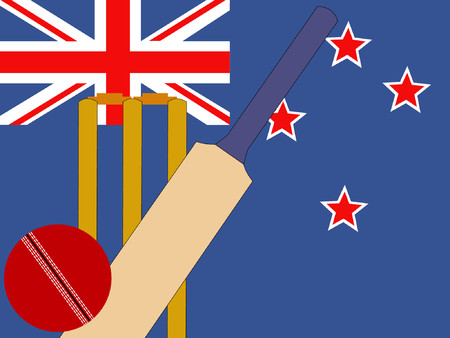 bails: cricket bat and stumps with New Zealand Flag