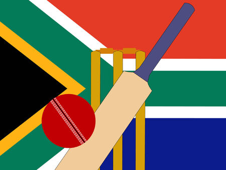 bails: cricket bat and stumps with South African Flag  Illustration
