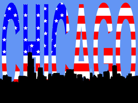 Chicago skyline and American Flag stars and stripes Vector