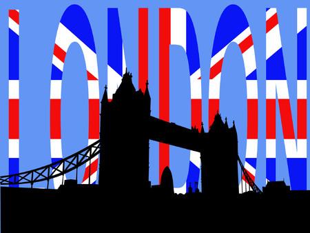 gherkin building: Tower Bridge London against British Flag Illustration