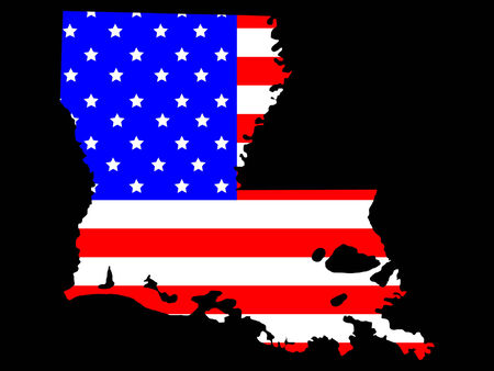 louisiana state: Map of the State of Louisiana and American flag Illustration