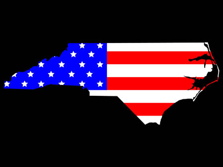 Map of the State of North Carolina and American flag Vector