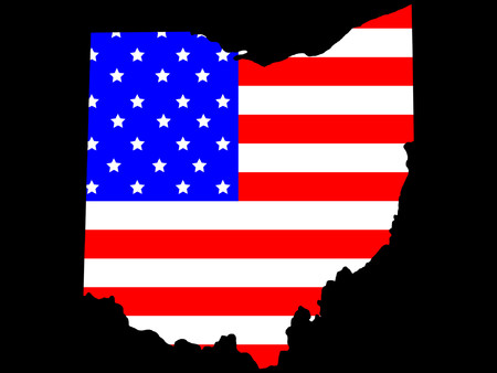 Map of the State of Ohio and American flag Vector