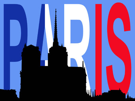 Notre Dame Paris and French Flag Vector