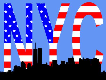 former Lower Manhattan skyline and American flag Vector