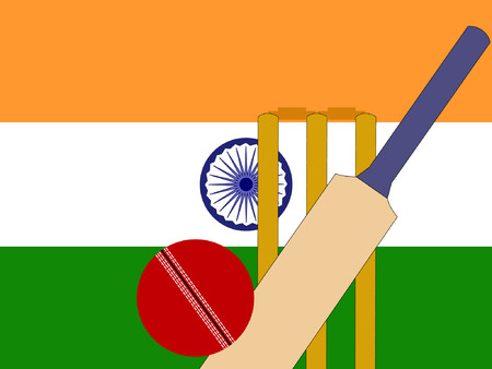 cricket ball: cricket bat and stumps with Indian Flag  Illustration