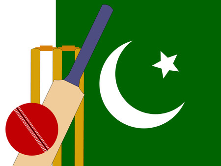 bails: cricket bat and stumps with Pakistani Flag