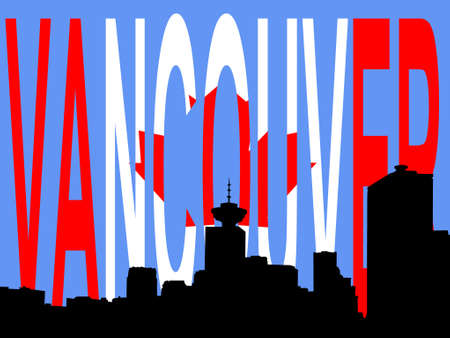 vancouver city: vancouver skyline against canadian flag illustration Illustration