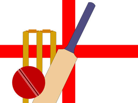 bails: cricket bat and stumps with English Flag  Illustration
