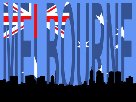 Melbourne Skyline against Australian flag illustration Stock Vector - 839043