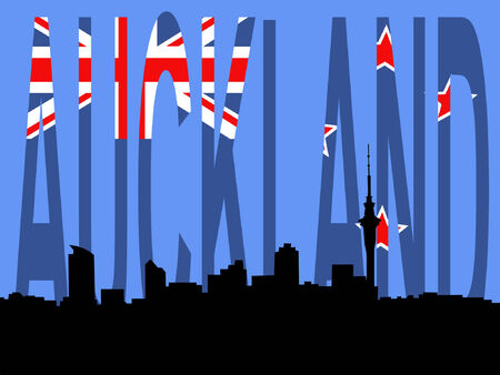 new zealand flag: Skyline di Auckland contro la Nuova Zelanda bandiera