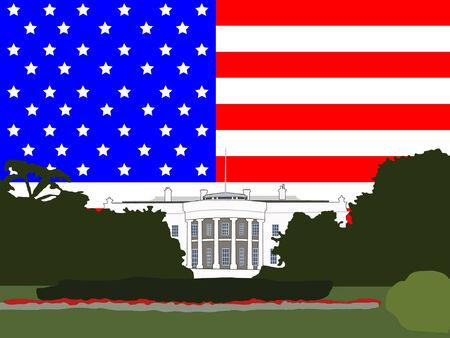 White house Washington DC against American flag Stock Vector - 839051