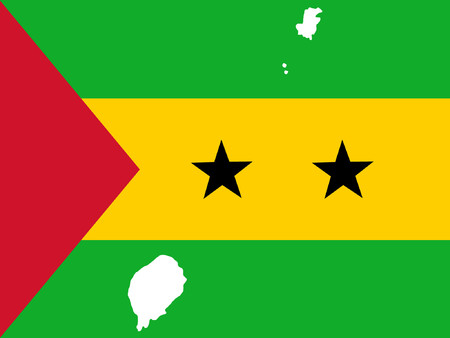 tomo: mappa di Sao Tome e la loro bandiera illustrazione  Vettoriali