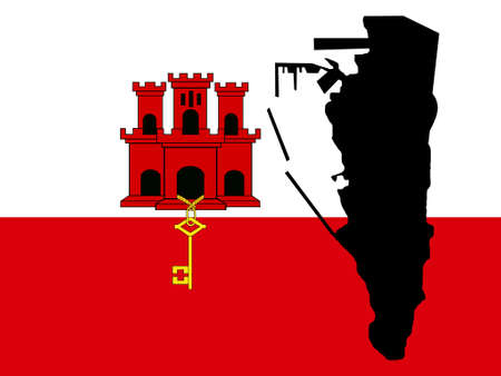 gibraltar: map of Gibraltar and their flag illustration