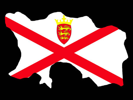 map of Jersey and their flag illustration Vector