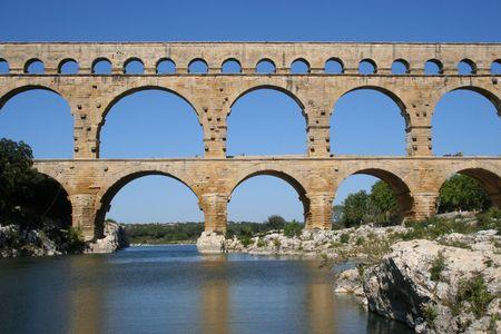 restoring: Roman aqueduct at Pont du Gard Southern France Stock Photo
