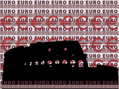 colloseum: Colloseum Rome silhouette against euro background