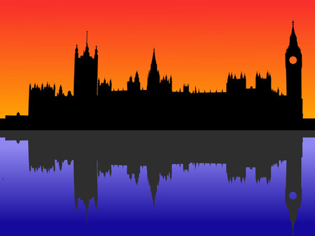 Houses of parliament London reflected at dusk