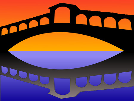 rialto bridge: Rialto bridge reflected at dusk