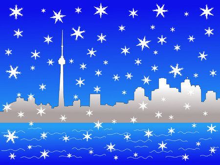 iciness: Toronto skyline in winter with falling snow