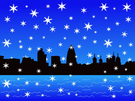 Tower of London and modern skyline in winter  Vector