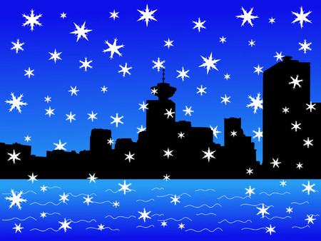 vancouver: Vancouver skyline in winter with falling snow Illustration