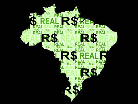 moneda brasileña con mapa de brasil  Foto de archivo - 839097