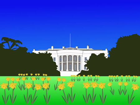 White house Washington DC in springtime Vector