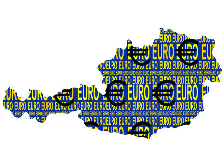 map of Austria and euro currency illustration Vector
