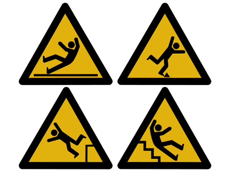 Caution signs figures falling tripping and slipping